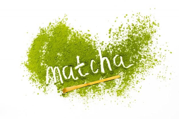 Слово маття из порошкообразного зеленого чая маття Premium Фотографии