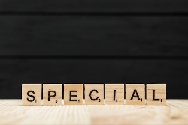 The word special spelt with wooden letters Free Photo