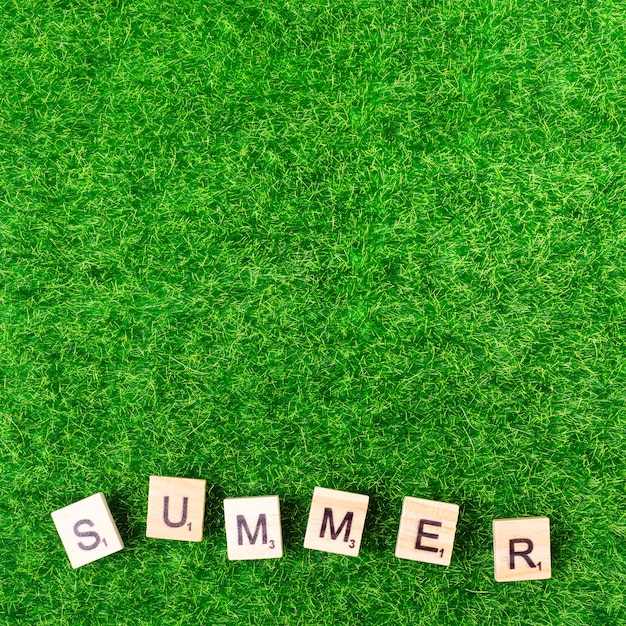 Word summer from game letters on grass Free Photo