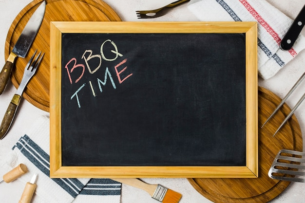 Words bbq time on blackboard Free Photo