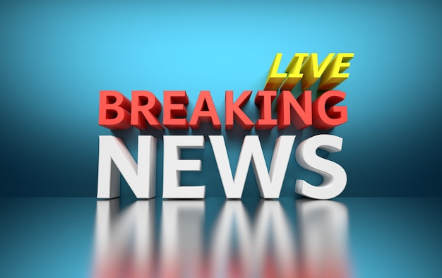 Words breaking news live written in bold red, white and yellow colors on blue Premium Photo