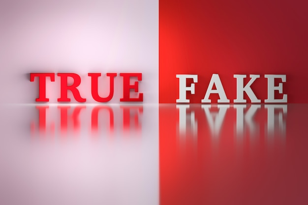 Words - true and fake Premium Photo