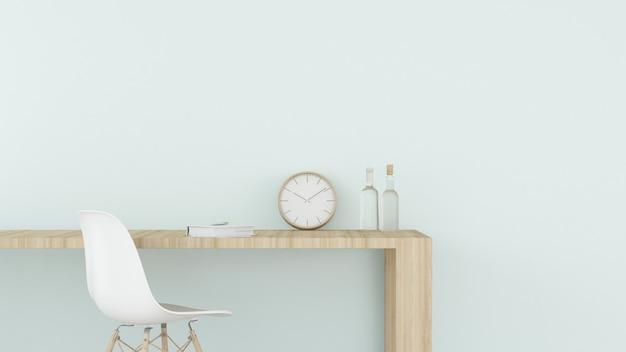 Premium Photo Work Space Interior Wall Pastel Color 3d Rendering Minimal Japanese