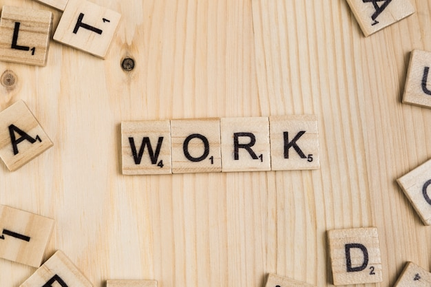 Work word on wooden tiles Free Photo