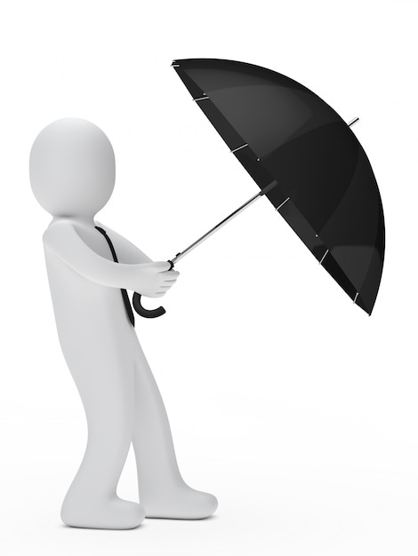 Worker protecting with an umbrella Free Photo