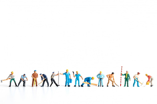 Worker team standing on white background and copy space for your text , labour day concept Premium Photo