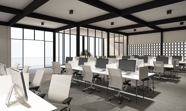 Working area in modern office with carpet floor in modern white tone style and meeting room. interior 3d rendering Premium Photo