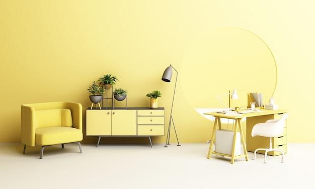 창 현창으로 집에서 식물과 생활 가구 세트 개념 작업과 책상과 의자 사무실 프리미엄 사진