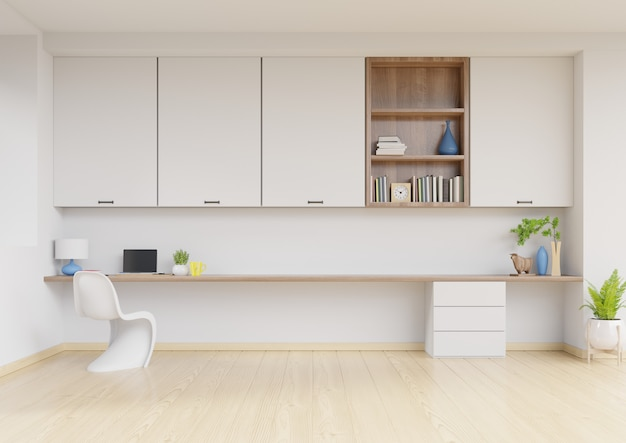 Working interior with white wall empty room Premium Photo