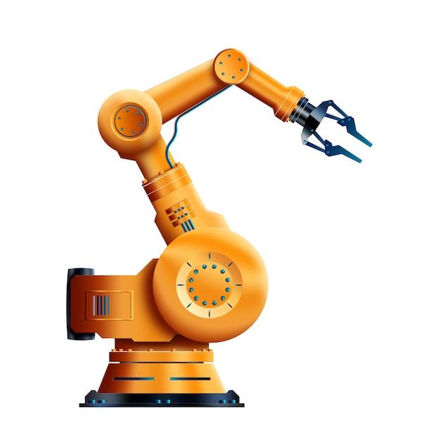 Working robot isolated on white background Premium Photo