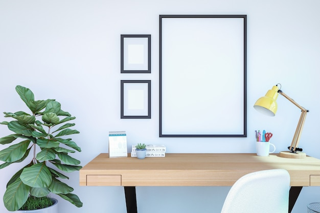 Working room interior with blank photo frames for mock up Premium Photo