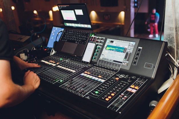 Working sound panel on  of the concert stage. Premium Photo
