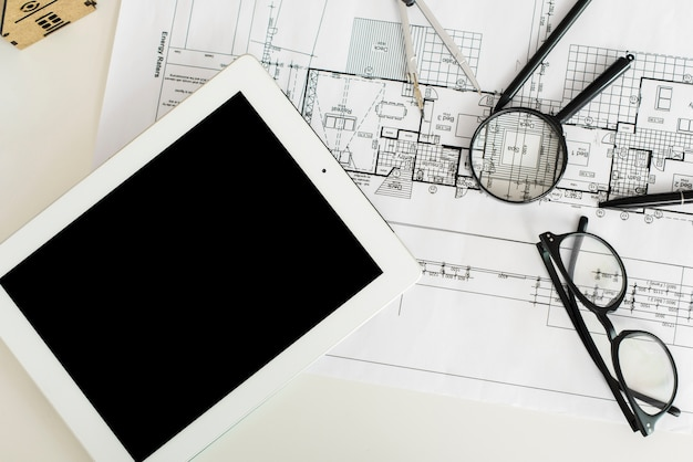 Working table of an architect engineer mockup top view Free Photo