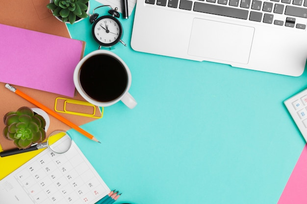 Working table in children room interior. close-up of cozy workspace background Premium Photo