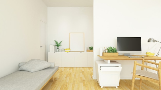 Workplace and living area in house or condominium - 3d rendering Premium Photo