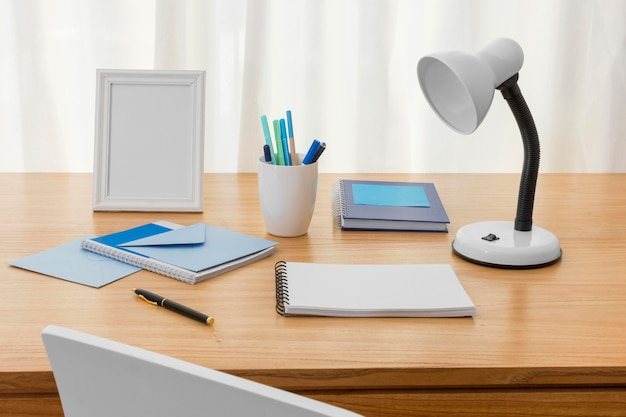 Workspace composition with notebook Free Photo