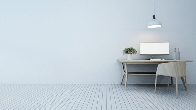 Workspace in hotel or apartment - 3d rendering Premium Photo