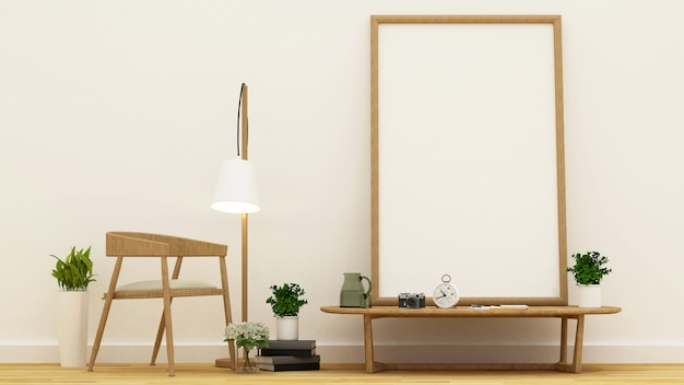 Workspace or library area and frame for artwork - 3d rendering Premium Photo