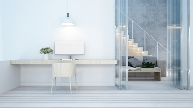 Workspace and living area on white tone in home or apartment - Premium Photo