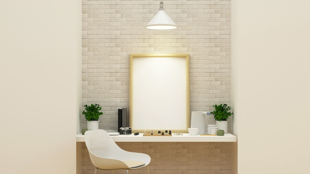 Workspace and relax area - 3d rendering Premium Photo