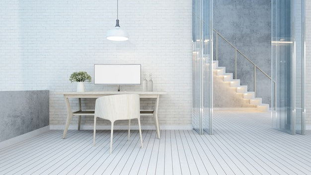 Workspace white tone in home or apartment - 3d rendering Premium Photo