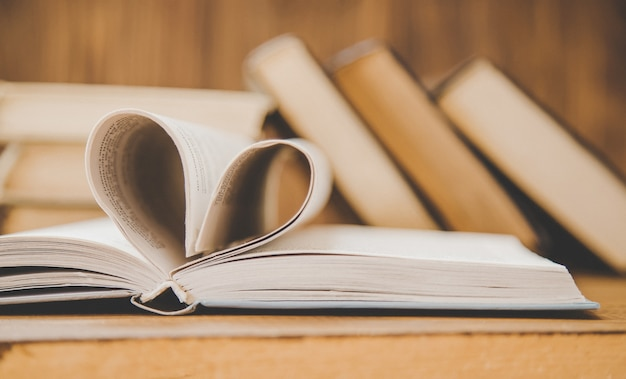 World book day. book background. selective focus. Premium Photo