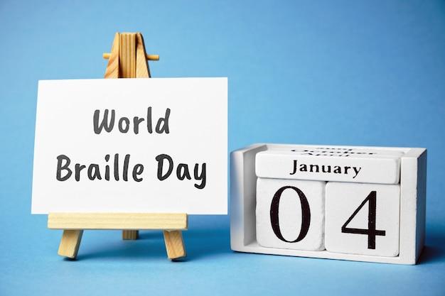 Всемирный день брайля по зимнему календарю январь. Premium Фотографии