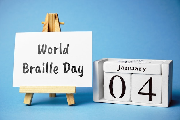 World braille day of winter month calendar january. Premium Photo
