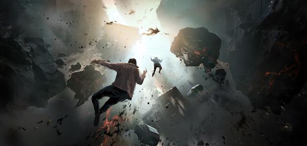World collapse, doomsday scene, digital painting. Free Photo