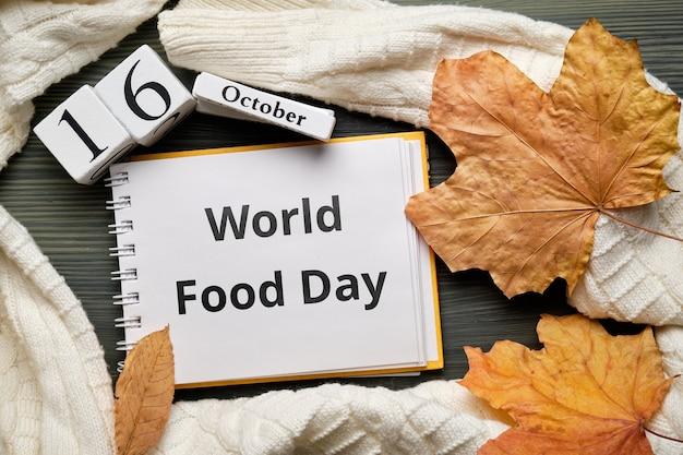 Всемирный день продовольствия в осенний календарь месяца октябрь Premium Фотографии