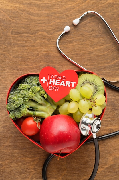 World heart day concept with healthy food Free Photo