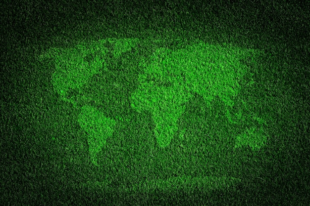 World map made with grass Free Photo