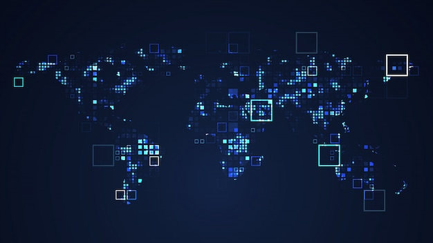 World map network digital technology graphic illustration. blue color. internet futuristic concept. Premium Photo