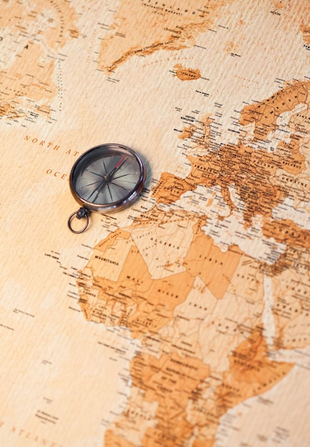 World map with compass showing africa and europe Photo
