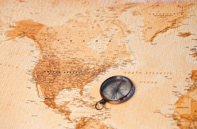 World map with compass showing north america photo premium download world map with compass showing north america premium photo gumiabroncs Choice Image