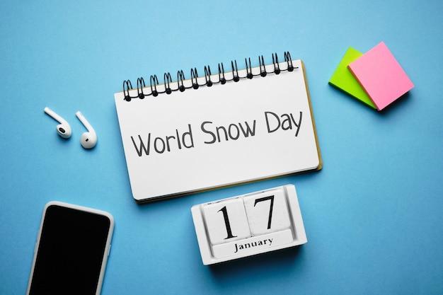 World snow day of winter month calendar january. Premium Photo