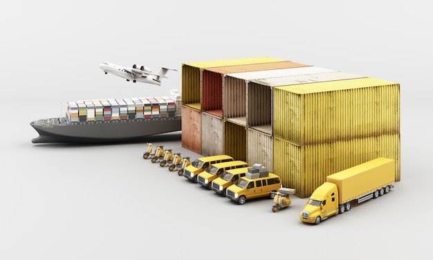 World wide cargo container transport Premium Photo