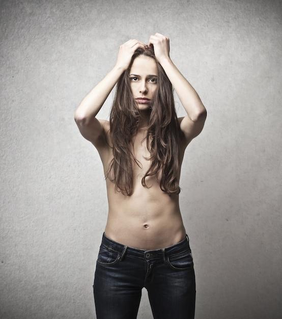 Worried topless woman Premium Photo