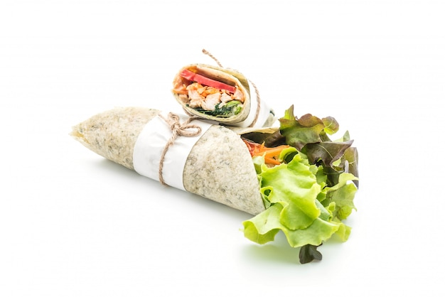 Wrap salad roll with chicken and spinach Premium Photo