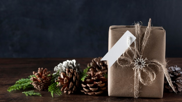 Wrapped gift with blank tag and decorations Free Photo