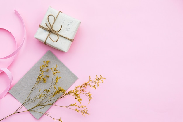 Wrapped gift with copy space Free Photo