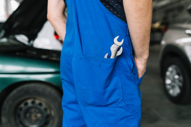 Wrenches in pocket of repairmen Free Photo