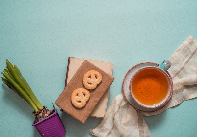 Writing diary tea snacks concept Premium Photo