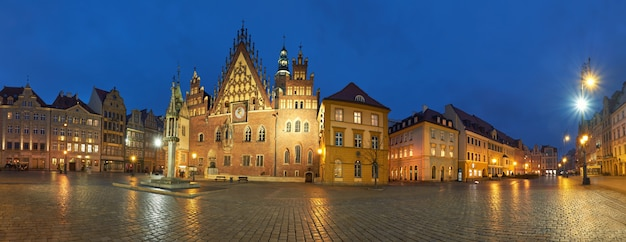 Wroclaw city in poland, panoramic image or town hall Premium Photo