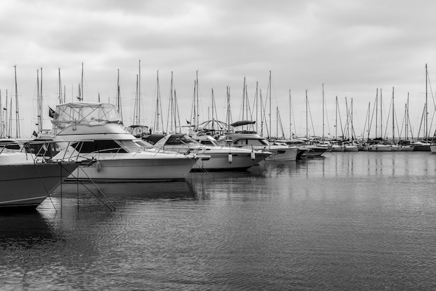 Yachts in a harbour in turkey. black and white. copy space Premium Photo