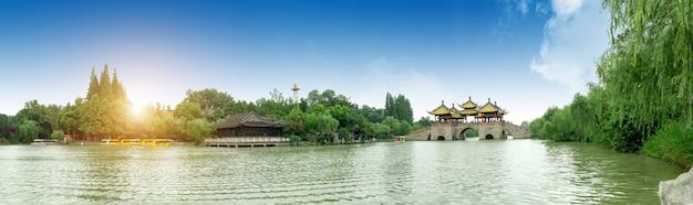 Yangzhou slender west lake wuting bridge Premium Photo