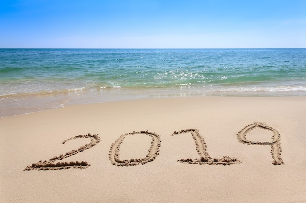 Year 2019 written at the sand beach with sea wave water Premium Photo