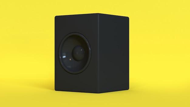 Yellow background black round speaker 3d rendering Premium Photo