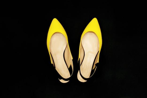 Yellow-black summer shoes Premium Photo