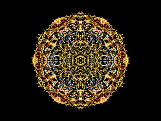 Yellow, blue and coral abstract flame mandala flower,  ornamental floral round pattern Premium Photo